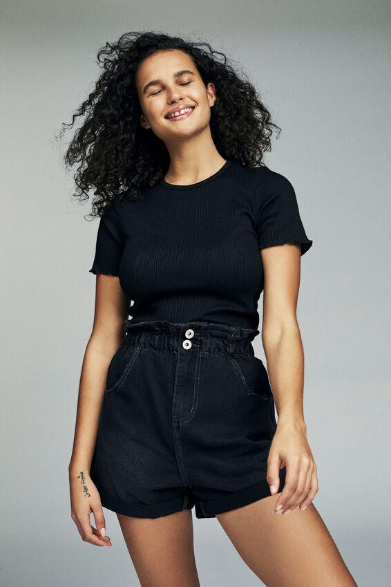 Denim Paperbag Short, VINTAGE BLACK