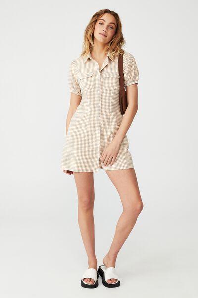 Woven Petite Iggy Shirt Dress, KAYLA MICRO GINGHAM BROWN TAUPE