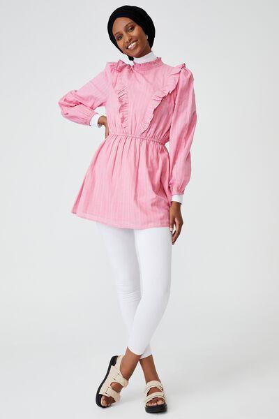 Woven Taya Long Sleeve Ruffle Neck Mini Dress, PINK CHERRY