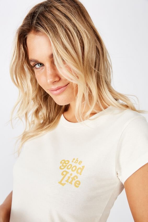 Essential Slogan T Shirt, THE GOOD LIFE/GARDENIA