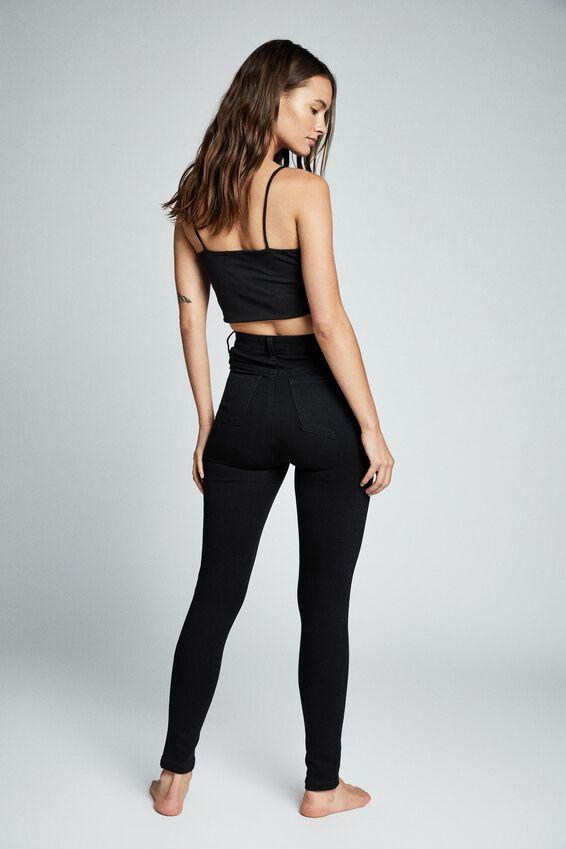 Ultra High Super Stretch Jean, BLACK POCKETS