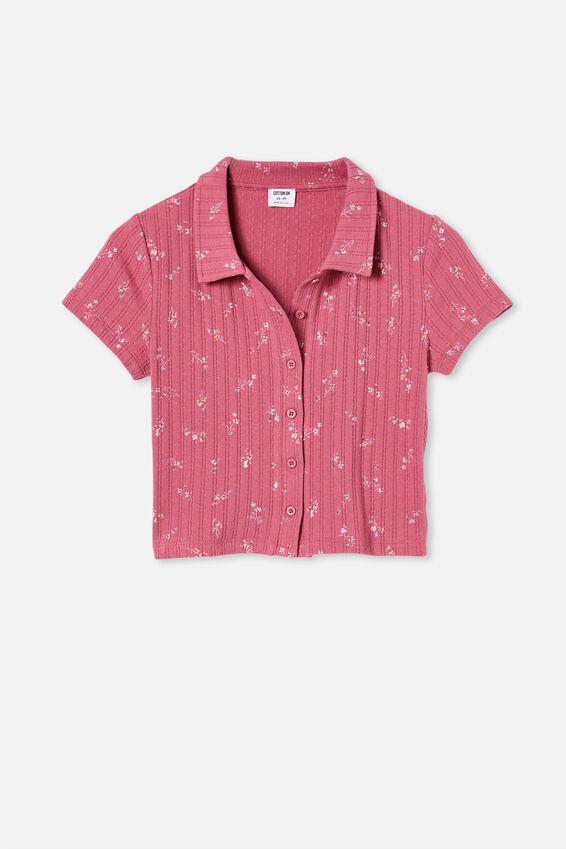 Amelia Polo Placket Tee, RILEY DITSY MALAGA