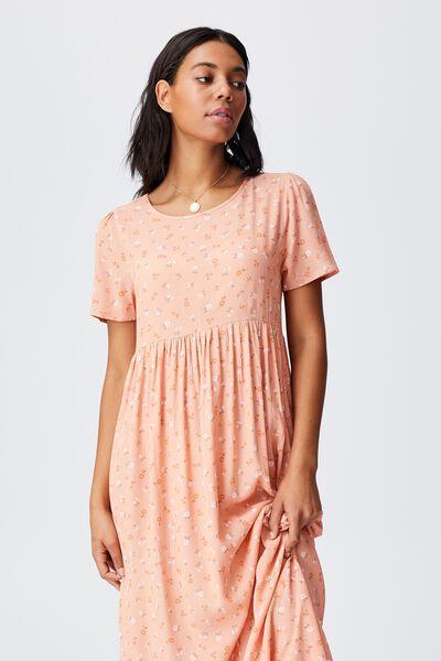 Woven Kimberly Babydoll Short Sleeve Maxi Dress, DELILA DITSY HONEY PINK