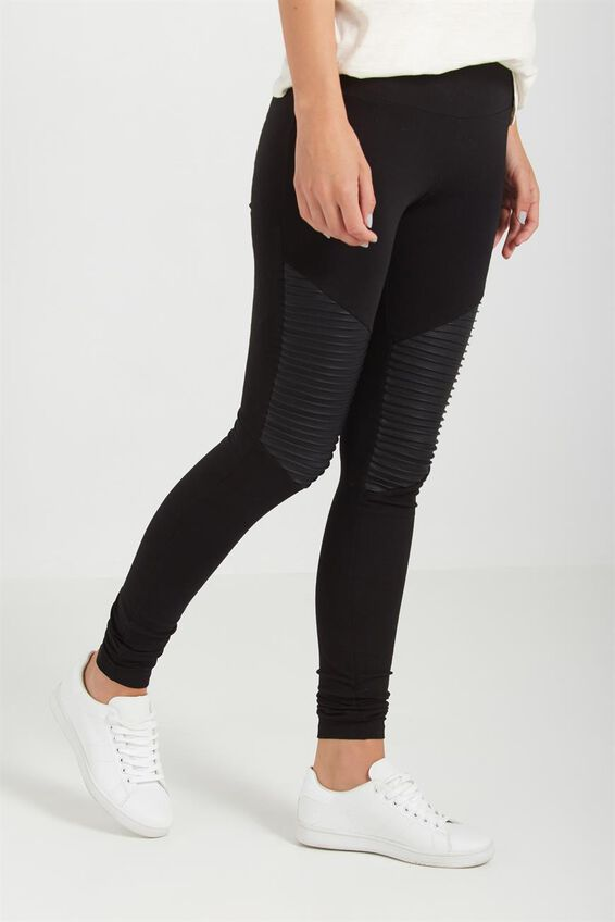Dakota Detail Legging, NEW BLACK/BLACK PU