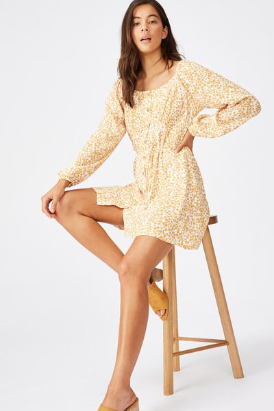 Woven Natasha Square Neck Long Sleeve Mini Dress, FRANKIE DITSY GARDENIA