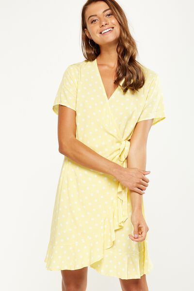 Woven Charli Short Sleeve Wrap Dress, JESSIE SPOT SUNDRESS