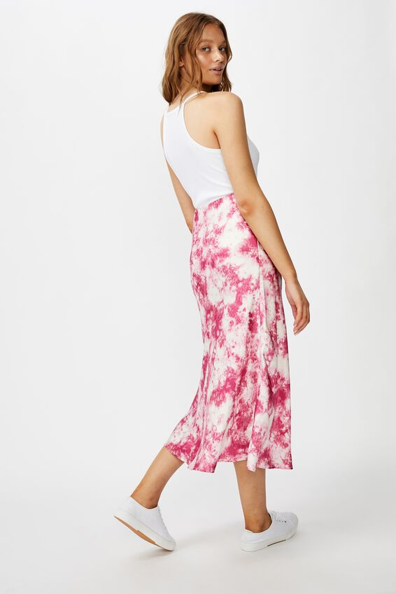 Belle Bias Midi Skirt, EDITH TIE DYE SUMMER CASSIS