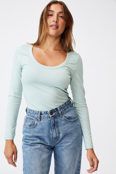The Everyday Scooped Long Sleeve Top, HORIZON BLUE