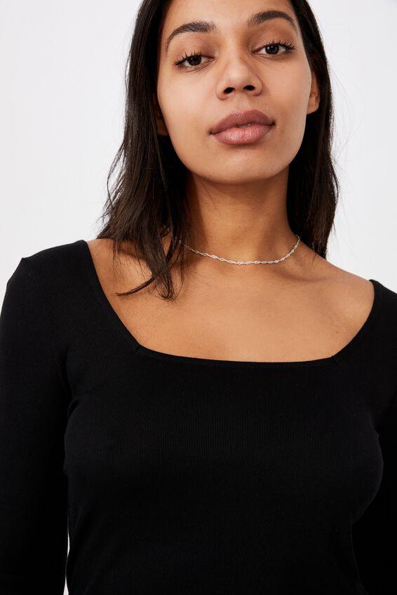 Serena Square Neck Long Sleeve Top, BLACK