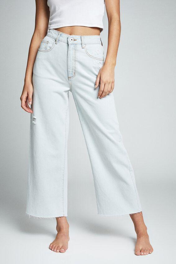 Wide Leg Cropped Jean, BLEACH FADE