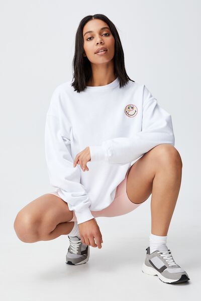 Collab Classic Crew, LCN SMILEY PATCH/ WHITE
