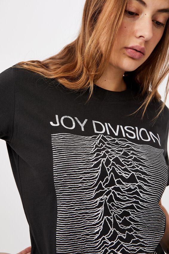 Classic Joy Division U.P T Shirt, LCN WMG JOY DIVISION/WASHED BLACK