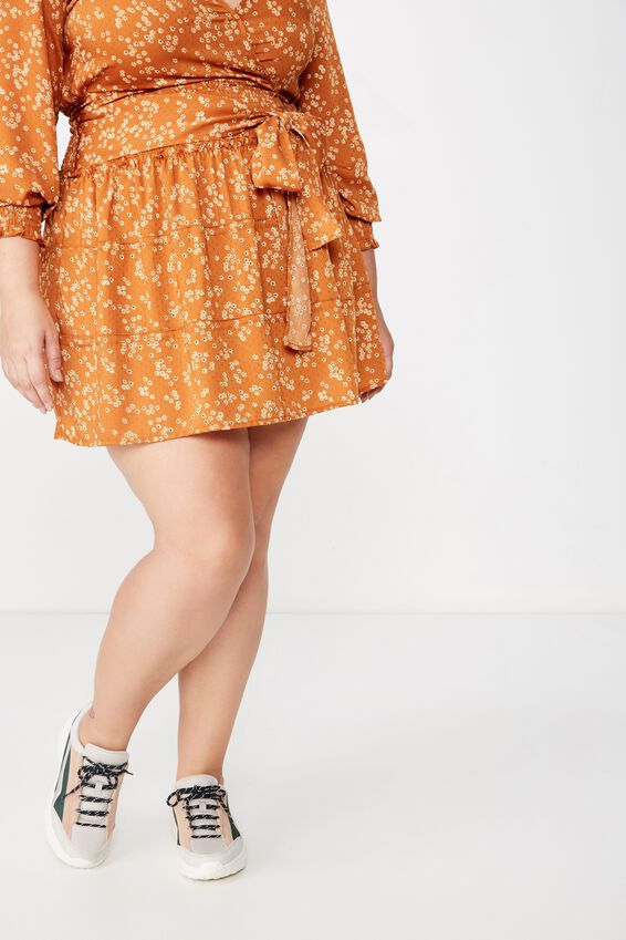 Curve Shirred Panel Skirt, ALICE DITSY AUTUMNAL