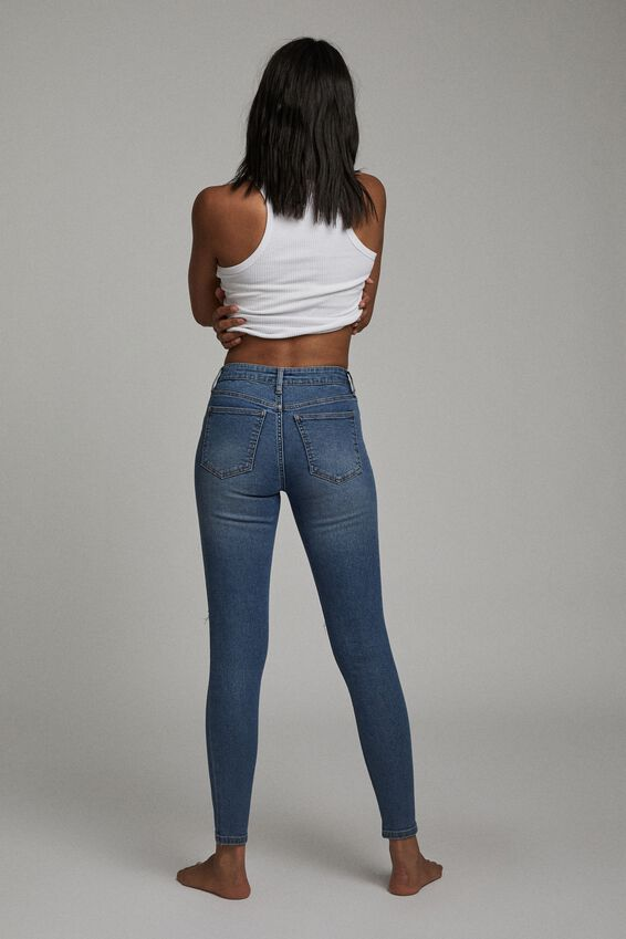 Mid Rise Skinny Jean, LUCKY BLUE RIP