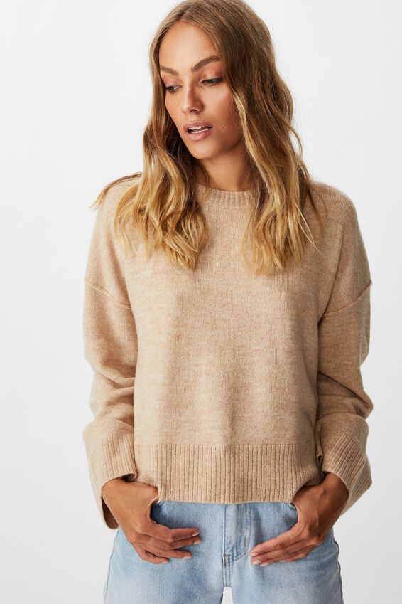 Side Button Pullover, OATMEAL MARLE
