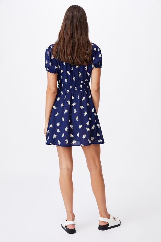 Woven Essential Button Front Mini Dress, ARABELLA FLORAL MEDIEVAL BLUE