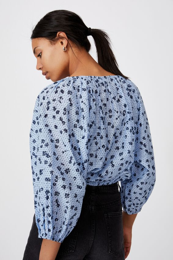 Float On Blouse, LAURA DITSY VINTAGE BLUE