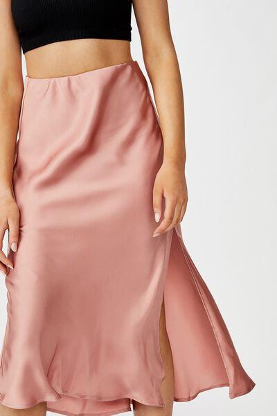 Belle Split Midi Skirt, ROSE
