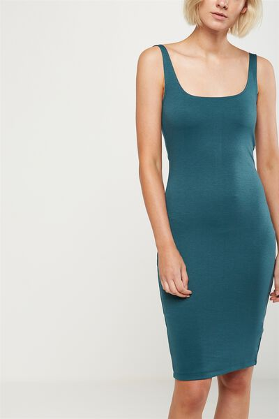 Kimi Scooped Bodycon Midi Dress, PINE GREEN