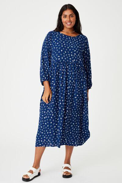 Curve Good Times Babydoll 3/4 Sleeve Maxi Dress, DELILA DITSY MEDIEVAL BLUE