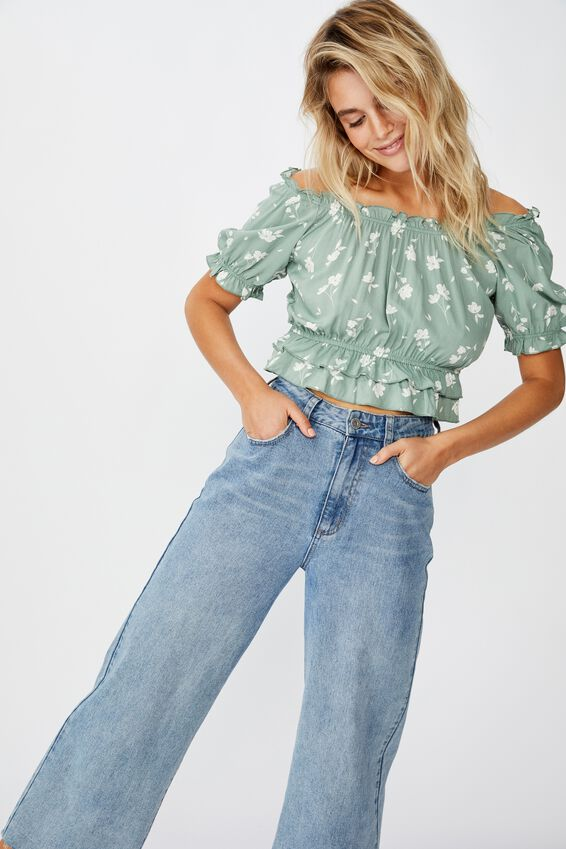 Prairie Frill S/S Blouse, LUCY FLORAL GREEN BAY