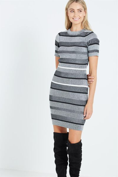 Avon Bodycon Mini Dress, BETSY STRIPE GREY