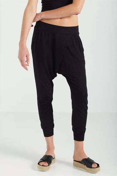 Relaxed Wrap Jersey Pant, BLACK