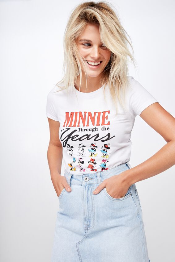 Slim Mickey And Co Crew T Shirt, LCN DIS MINNIE THROUGH THE YEARS/WHITE