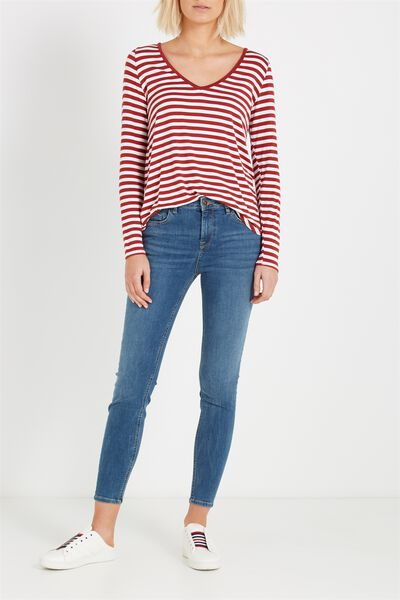 Mid Rise Push Up Skinny Jean, MID WASH
