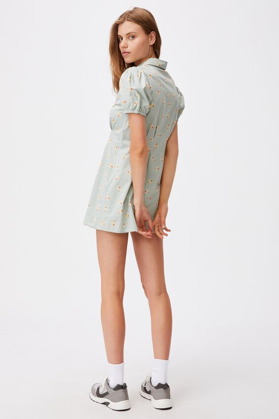Woven Bambie Button Front Shirt Dress, ARABELLA FLORAL LUSH GREEN MINI