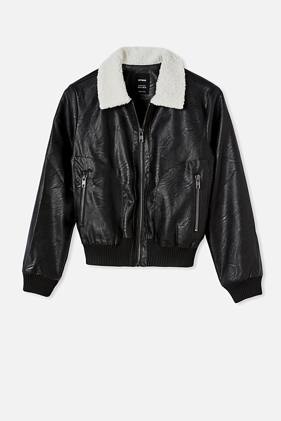 Vegan Leather Bomber, BLACK SHERPA