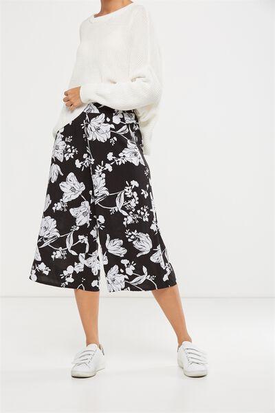 Mid Rise Drapey Culotte 2, ELLIE FLORAL BLACK