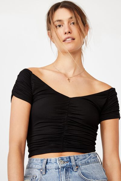 Lizzie Gathered Short Sleeve Top, BLACK