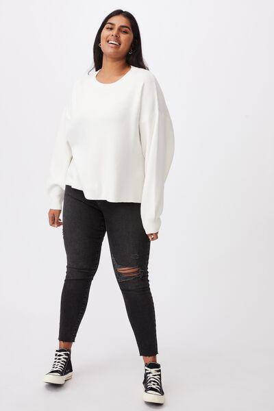 Curve Chloe Oversized Pullover, CLOUD DANCER