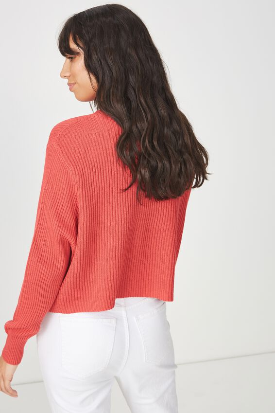 Archy Cropped 2 Pullover, GARNET ROSE