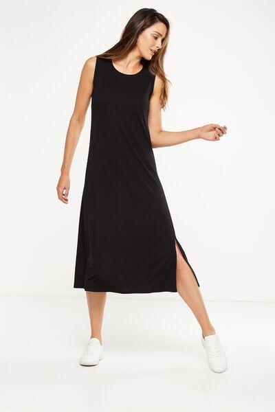 Issac Tank Maxi Dress, BLACK