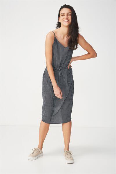 Woven Mimi Rouched Midi Dress, NAVY/WHITE PINSTRIPE