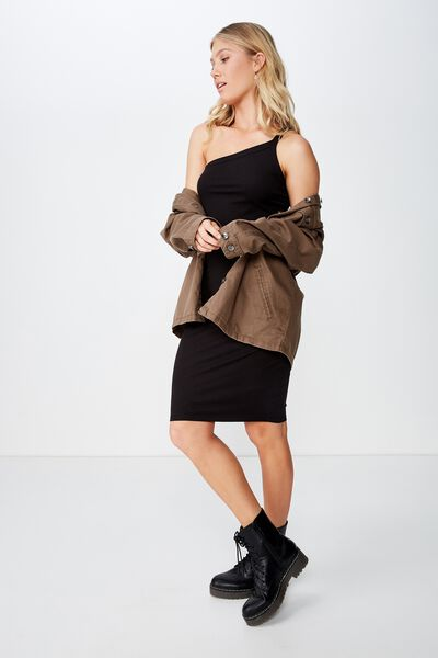 Ollie One Shoulder Midi Dress, BLACK