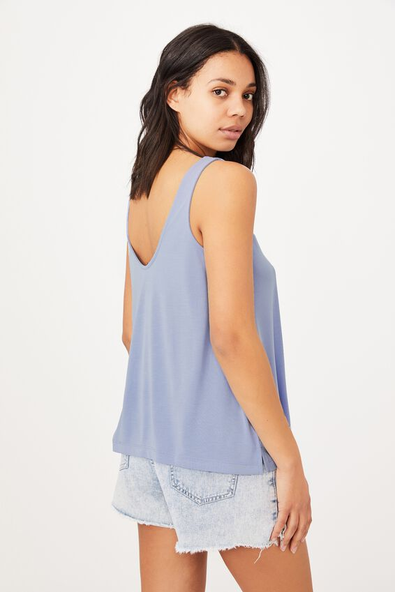 Tia Scooped High Low Tank, VINTAGE BLUE