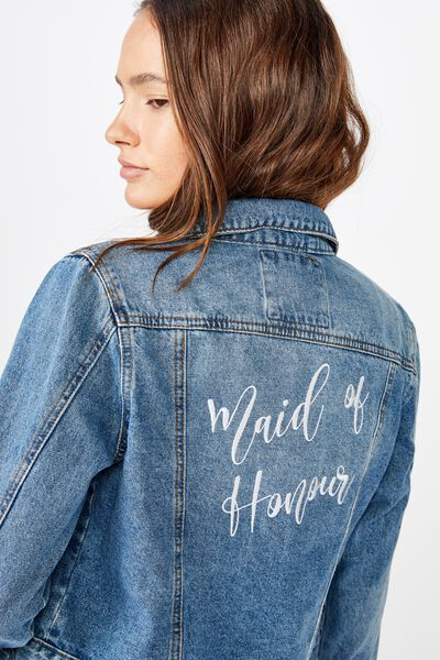 Personalised Bridal Girlfriend Denim Jacket, BERKLEY