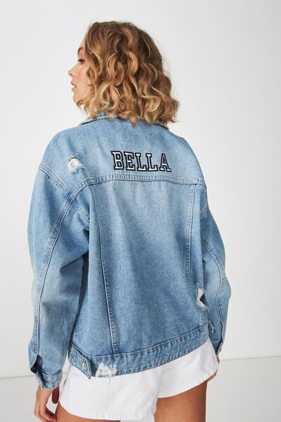 Personalised Bf Denim Jacket, COLLEGIATE BLUE