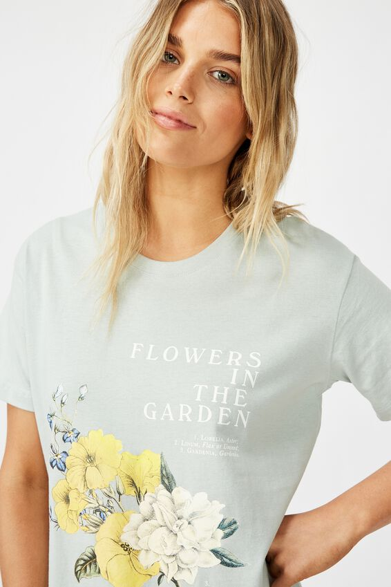 Classic Arts T Shirt, FLOWERS IN THE GARDEN/CLOUD BLUE