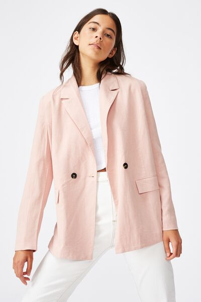 All Day Textured Blazer, MISTY ROSE