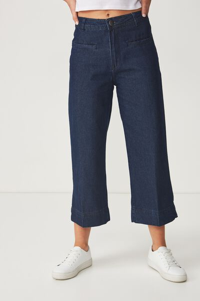 Mid Rise Wide Leg Crop Jean, RINSE BLUE WELT PKT PRESS