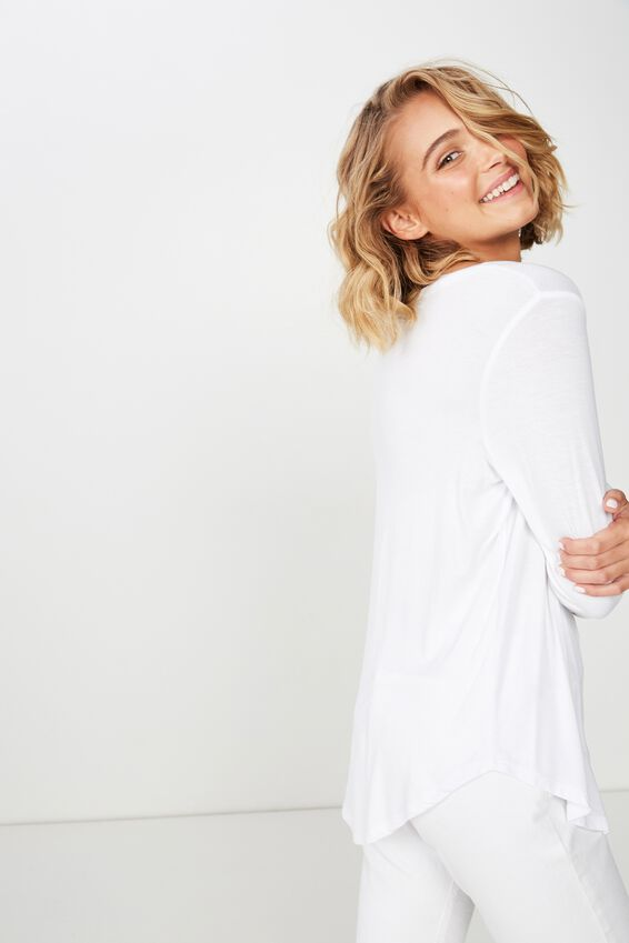 Karly Long Sleeve Top, WHITE