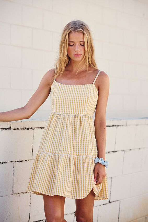 Woven Birdie Tiered Mini Dress, RORY GINGHAM HONEY GOLD