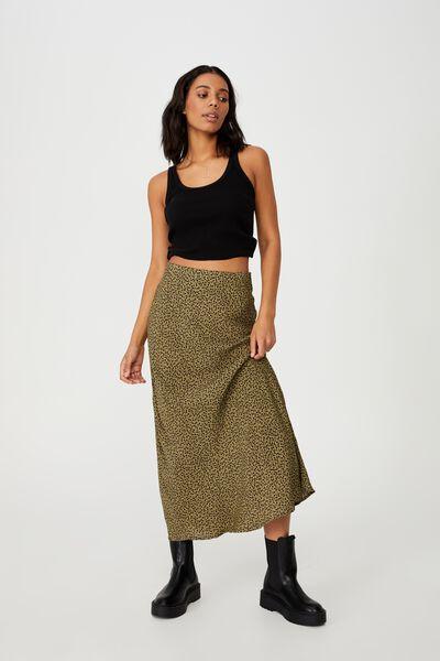 All Day Slip Skirt, PHOEBE DITSY MOSSY GREEN
