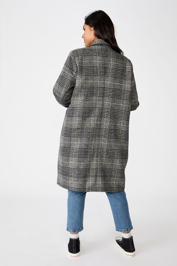 Curve Marty Mid Length Coat, BLACK CHECK