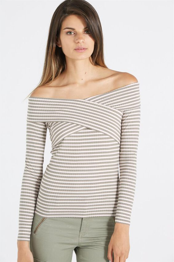 Louella Wrap Off Shoulder Long Sleeve Top, TASH STRIPE SOOT/ PINK SAND/ WHITE