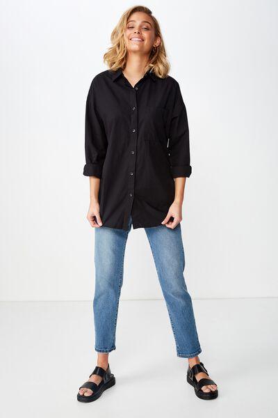Piper Oversized Shirt, BLACK